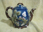 CBK Berry Tea Pot Blue with White Flowers and Rasberry color Berries