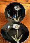 2 FITZ AND FLOYD CHINA MIDNIGHT POPPY PATTERN SOUP BOWLS -  PALE BLUE FLOWER