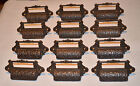 12 Ornate Cast Iron Victorian Print Shop Name Plate Drawer Pull Holders