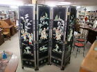 Vintage Oriental Black Lacquer Room Divider Dressing Screen 4 Section 3-D M.O.P