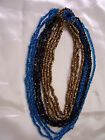 10 Strand Tri Color Glass Necklace by Eugene c1950s