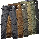 US STOCK Men Casual Military Army CARGO CAMO Combat Work Pants Straight Trousers