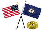State of Kentucky  USA American Flag 4x6 Desk Set Table Stick With Gold Base