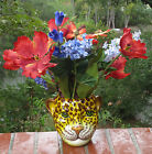 Vintage Italy Yellow-Spotted Leopard/Jaguar/Cheetah Ceramic Flower Vase