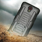 Hybrid Rugged Armor Hard Impact Case Cover Holster For ZTE Prestige/Avid Plus