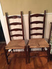 ANTIQUE CHAIRS PAIR LADDER BACK FARM CHAIRS SLAT BACK RUSH SEATS