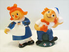 ANDY CARTOON 1981 VINYL SQUEEZE TOY FIGURE PAIR SET SUPER CUTE and