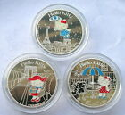 France 2005 Hello Kitty Set of 3 Colour Silver Coin,Proof