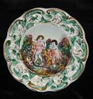 Vintage Capodimonte  Italy Hanging Gilded Wall Plate w/ Nudes and Dog - 6.5