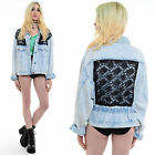 Vtg 80s 90s ACID WASH Denim Oversized Lace Grunge Stonewash Jean Jacket Coat M L