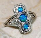 1CT Blue Fire Opal 925 Solid Sterling Silver Victorian Style Filigree Ring Sz 7