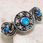Blue Fire Opal & Fire Opal 925 Solid Sterling Silver Victorian Style Ring Sz 8