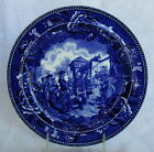 Antique Wedgwood Blue American Souvenir Historical Plate Capture of Vincennes