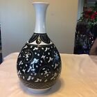 Vintage Chinese Green/White Crane Porcelain Large Vase Signed