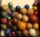30 old toys MARBLES GERMANY AMERICAN CHINESE BENNINGTON CLAY FOIL WHITE GLAZE