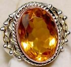 6CT Golden Citrine 925 Solid Sterling Silver Victorian style Ring Sz 7.75
