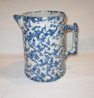 ANTIQUE BLUE AND WHITE SPONGE WARE PITCHER VINTAGE STONEWARE PITCHER