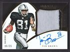 2015 Immaculate Premium Patch Autograph #TI Tim Brown Auto 06 25 Oakland Raiders