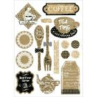 Scrapbooking Crafts FIT Vintage Coffee Tea Time Fork Spoon Tags Bows Pastries
