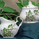 Lily of the Valley Fine China Sugar  Creamer Set Covered Sugar Bowl