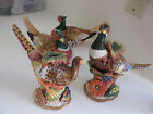 lot of 4 RETIRED FITZ AND FLOYD AUTUMN BOUNTY PHEASANT CANDLE HOLDERS + SERVING