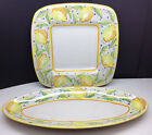Square Serving Platters Yellow Green