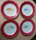 SET OF 4 ANTIQUE HAND PAINTED LIMOGES FISH PLATE,GOLD GILT SCALLOPED EDGE