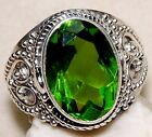 5CT Peridot 925 Solid Genuine Sterling Silver Ring Sz 8