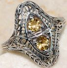0.5CT Natural Citrine 925 Solid Sterling Silver Art Deco Filigree Ring Sz 6