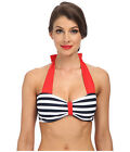 Unique Vintage Shirley Bikini Top Womens size XS Red Blue White TK27