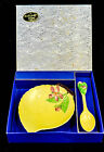 VINTAGE CARLTON WARE APPLE BLOSSOM JAM DISH AND SPOON IN BOX
