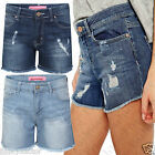 New Ladies Women Girls Vintage Ripped look Denim Hot Pants Jeans Shorts UK 8 16