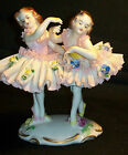 Antique German Porcelain Volkstedt Dresden Lace Lady Ballerina Dancers Figurine