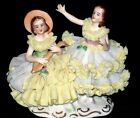 Antique German Porcelain Dresden Lace Ballerina Girl Sisters Dresden Figurine