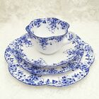SHELLEY DAINTY BLUE Tea Cup and Plate Set. Vintage English China - 4 piece set