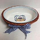 Medium Teamson 1995 Oval Baking Serving Dish on Wicker Basket Country House