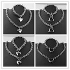 Love Heart Stainless Steel Oval Chain Necklace Bracelet Jewelry Set Womens Gift