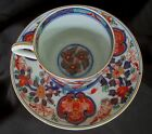 Antique Imari Ware Porcelain Cup and Saucer  Hand Painted Enameled