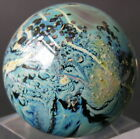 Vintage Signed Josh Simpson JS99 Glass Marble Sphere Planet w/ Acrylic Stand