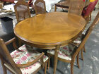 DREXEL Esperanto Dining Table and Six (6) Cane Chairs Vintage Mid Century Walnut