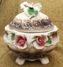 Vintage Capodimante Porcelain Rose covered Basket with Lid New in Box