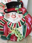 Fitz Floyd Merry Christmas Snowman With Scarf Gift Canape Plate Never Used Cute!