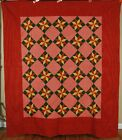 AMAZING PRE CIVIL WAR 1840's Stars Antique Quilt, EARLY FABRICS ~MINT CONDITION!
