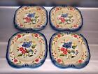 4 CERTIFIED INTERNATIONAL PAMELA GLADDING FLORA SQUARE DINNER PLATES 12 3/4