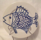 FITZ AND FLOYD BLUE & WHITE LES FISH SALAD DESSERT PLATE VINTAGE 7-1/2