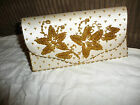 vtg white satin evening clutch purse with gold beaded design 8 1/2