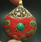 ANCIENT SHELL TIBET THAI AMULET PANTDANT ADORNED BY STONE TURQUOISE