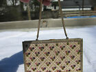 Vintage Evans Art Deco Beaded Gold Tone Metal Cosmetic Cigarette Case Purse Bag