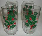 6 Indiana Christmas Cooler Glasses Holly Berries Vintage  Retro See Photos T13