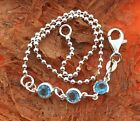 Anklet with Blue Cz stones Sterling Silver Beach Summer Jewelry Gift Idea
